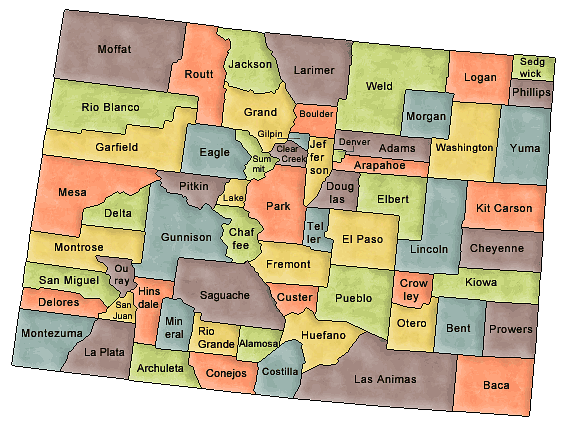 County map of state of Colorado