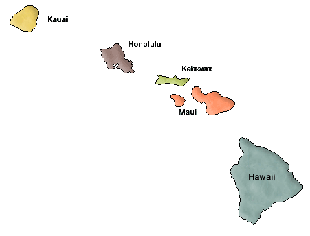 County map of Hawaii