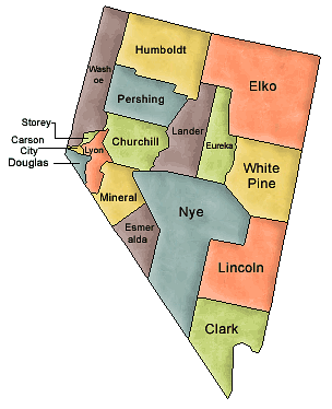 County map of Nevada