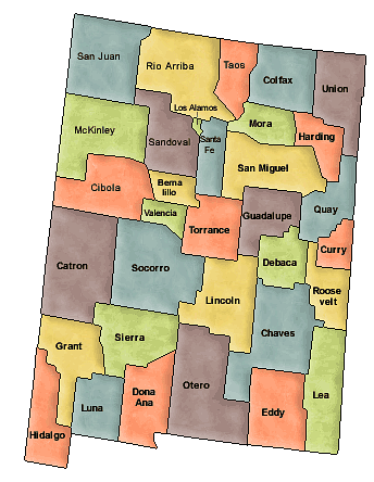 County map of New Mexico