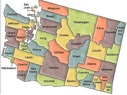 County map of Washington