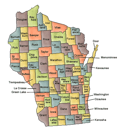 County map of Wisconsin