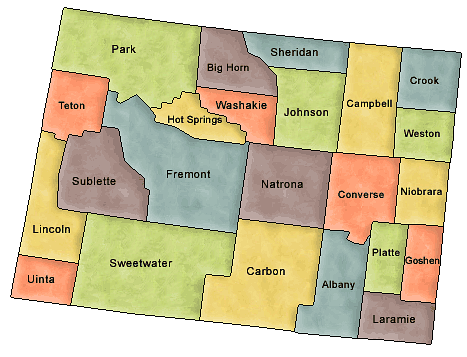 County map of Wyoming